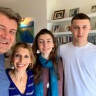 Beatrix Clark (second from left) with her family in lockdwon - (l-r) Mike, Jess and Oli. Picture: Be