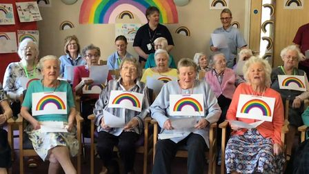 Care home residents came together to sing We'll Meet Again by Vera Lynn. Picture: Shaw healthcare