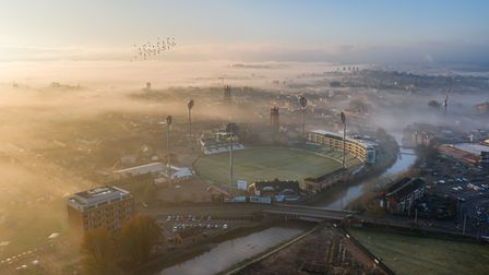 A misty sunrise over the Cooper Associates County Ground, home of Somerset County Cricket Club, by K