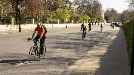 Cyclists obeying social distancing rules in Regent's Park. Picture: Regent's Park Cyclists