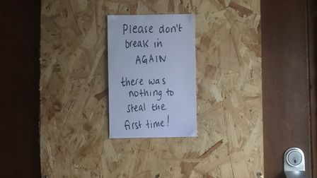 A notice left outside the office after the attempted break in. Picture: The Sherriff Centre