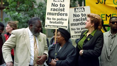Bernie Grant MP with Myrna Simpson, mother of Joy Gardner who died after being restrained with handc