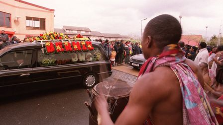 The arrival at Alexandra Palace of the hearse carrying the coffin of the late Bernie Grant MP. Pictu