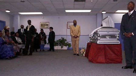 The body of Bernie Grant lies in state at the Freedom Hall, Tottenham Green Leisure Centre, to allow