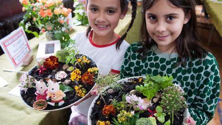 HGS Horticultural Society Flower show 2019 .Freya Beedle & Orla Mendez(both 8yrs) miniature gardens