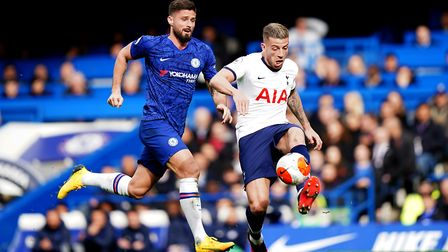 Chelsea's Olivier Giroud (left) and Tottenham Hotspur's Toby Alderweireld battle for the ball during