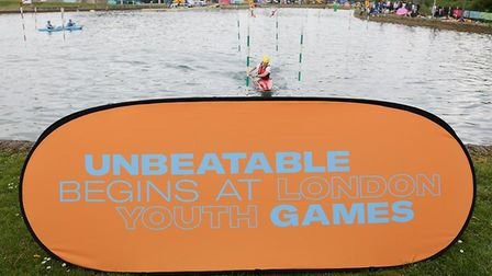 A sign says it all at the London Youth Games kayak event at the Lee Valley White Water Centre (pic J