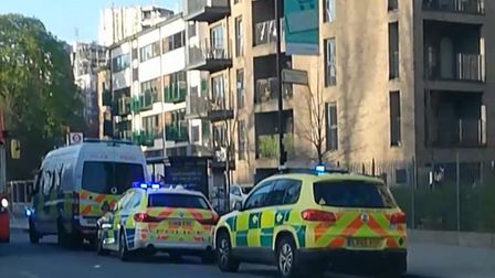 Emergency services at the scene of the stabbing on the Woodberry Down Estate. Picture: @999London