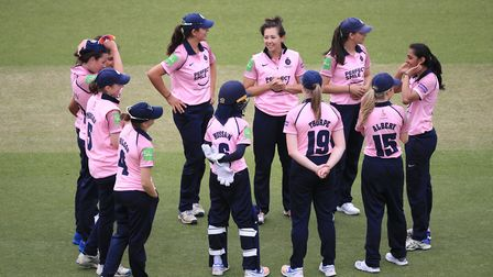Middlesex Women celebrate a wicket during the MCC Women's Day match at Lord's Cricket Ground