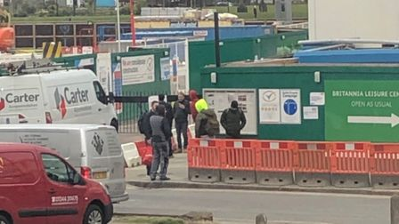 Neighbours claim workers at the Britannia Leisure Centre project are not keeping 2m apart during the