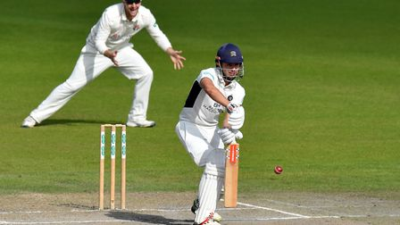 Middlesex's Max Holden in batting action against Lancashire last season