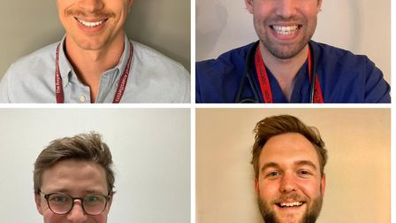Drs Sam Curtis, Charlie Vickers, Oli Butters and Tom Bottomley, Picture: NHSHairyHeroes