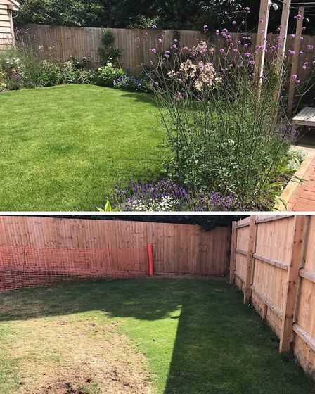 After and before shots of a garden Jane Scott Moncrieff designed in North Norfolk at a new build hou