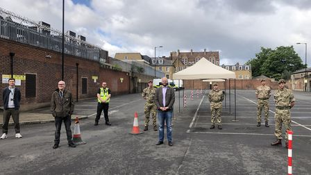 The test area in Dalston. Pictured (from left) Council staff Nicky and Peter from Adult Social Care,