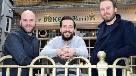 New landlords of the Duke of Hamilton on New End, fromleft Adam Gostyn, and brothers Ben and Ed Robs