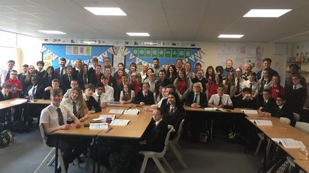 Ormiston Denes Academy students line up with Danny Boyle and Lily James on their recent visit ahead
