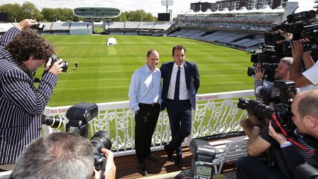 Andrew Strauss (left) with ECB chief executive officer Tom Harrison during a photocall to unveil him