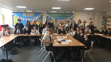 Ormiston Denes Academy students line up with actor Lily James during her recent visit ahead of filmi