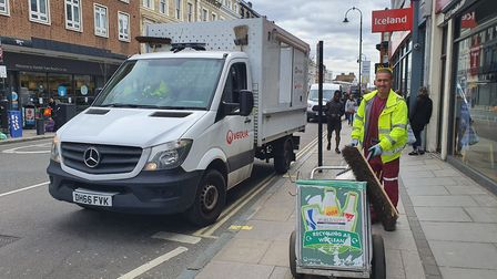 Benzie from the streets team on Kentish Town Road. Picture: Veolia
