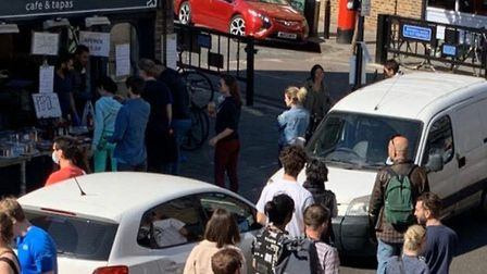 People out in Broadway Market on Saturday April 25, 2020.