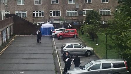 Police at the scene on the Nye Bevan Estate in Lower Clapton. Picture: Supplied