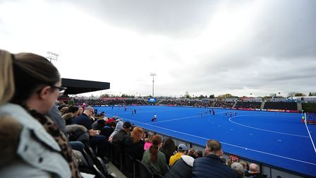 Fans gather before the FIH Hockey Olympic Qualifier at Lee Valley Hockey & Tennis Centre