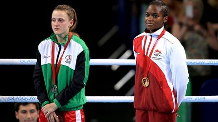 England's Nicola Adams (right) on the podium after her victory over Northern Ireland's Michaela Wals