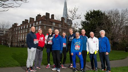 The 10 Ever Presents who have run every London Marathon at Marathon House, London. (Left to right) T
