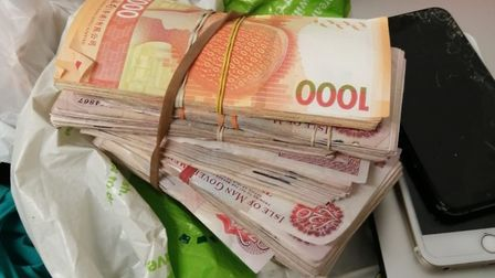 Cash seized by police.