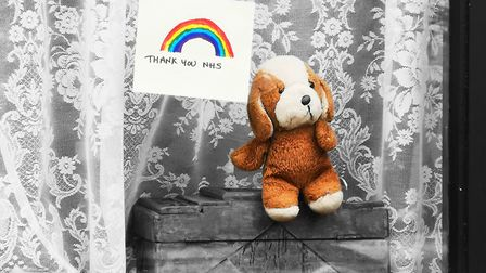 Rainbows and teddy bears are lining the streets as thanks to NHS staff. Picture: Brittany Woodman