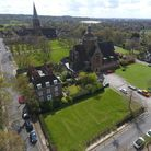 A drone-shot picture of NHS mown into the grass in Hampstead Garden Suburb.Picture: Richard Grethe