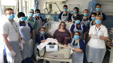 Annmarie with the team at Homerton Hospital. Picture: Homerton Hospital