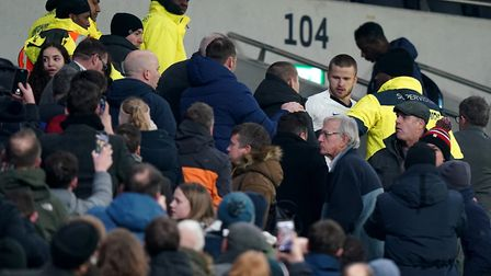 Tottenham Hotspur's Eric Dier confronts a supporter in the stands following the FA Cup fifth round m