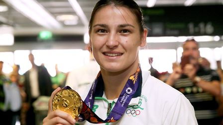 Boxer Katie Taylor arrives back at Dublin Airport after she won gold at the 2015 European Games, hel