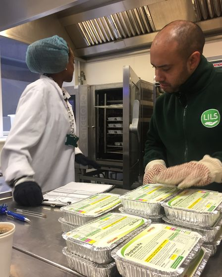 Meals being prepared at London Independent Living Service.