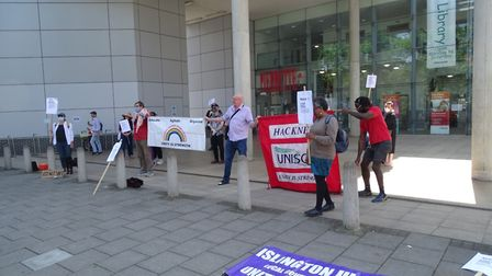 The teachers protest in Hackney against the early reopening of schools. Picture: Submitted by Dean R