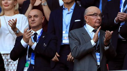 Tottenham Hotspur chairman Daniel Levy and Joe Lewis in the stands during the Champions League final