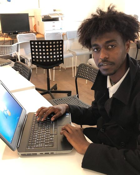 A laptop recipient from Camden charity C4WS Homeless Project. Picture: SocialBox.Biz