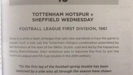 Tottenham's title-clinching win over Sheffield Wednesday in 1961 is featured in The Times 50 Greates