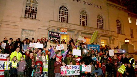 A huge protest took place outisde Hackney Town Hall in 2018 over funding cuts. Picture: Melissa Byer