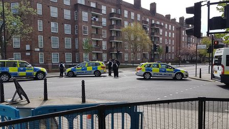 Police at the scene of the crash in Pembury Road. Picture: @Garyfoskett