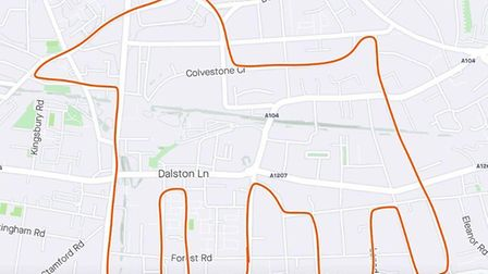 Tristan's first piece of Strava Hackney art was of a dog in Dalston. Picture: Strava