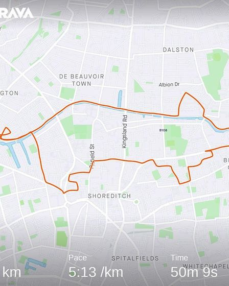Tristan has made animal-shaped routes from the streets of Hackney and other places in London. Pictur