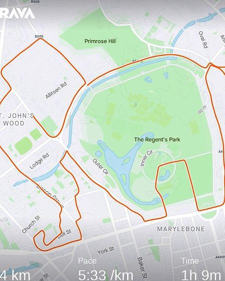 The elephant he designed took him all the way to Regent's Park. Picture: Strava