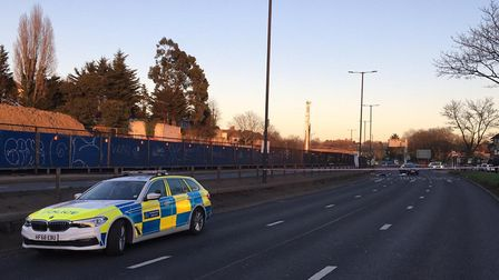 Police at the scene of an altercation on the North Circular Road, NW11. Picture: David Nathan