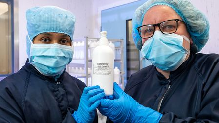 Shubna Akhtar a and Louise Wraith from the Royal Free's pharmacy team with a bottle of the newly pro
