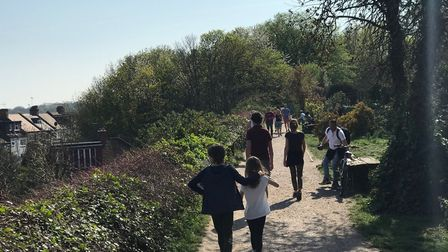 People on the Parkland Walk, where walkers, runners and cyclists come into close proximity. Picture: