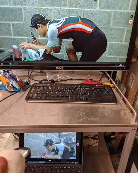 Club members used indoor turbo trainners to complete the challenge from home. Picture: London Triath