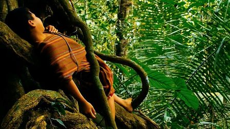 Rupert Clague filming in the Amazon and a still from his short film Jacobs Ladder
