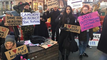 Camden parents protesting nursery closures outside the Crowndale Centre. Picture: Yami Manchanda-Cor